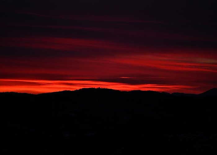 Sunset Greeting Card featuring the photograph Red Velvet Sky by Kevin Bone