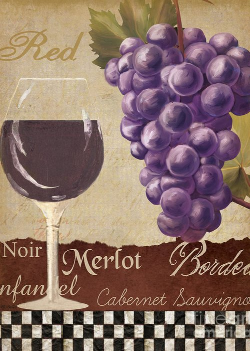 Wine Greeting Card featuring the painting Red Wine Collage by Grace Pullen