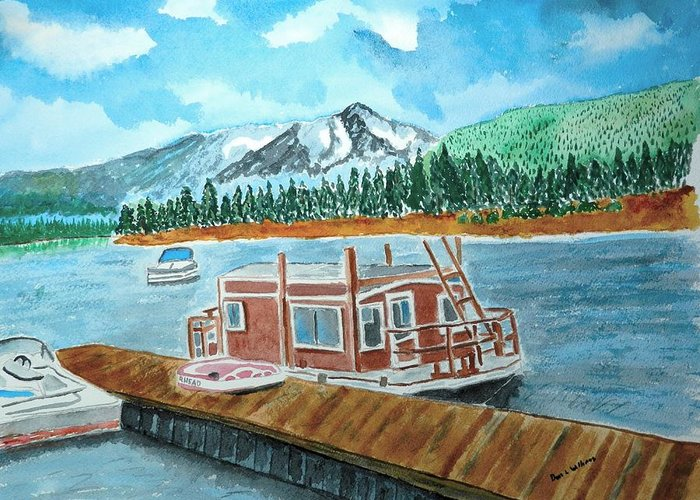 Lake Greeting Card featuring the painting Redfish Lake by Don L Williams