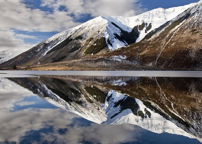 Hhh Greeting Card featuring the photograph Reflection In Lake Pearson, Castle Hill by Colin Monteath