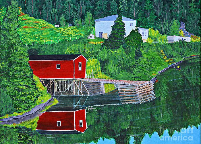 Reflections Greeting Card featuring the painting Reflections H D R by Barbara Griffin