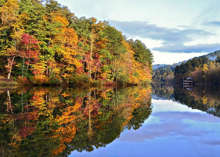 Landscape Greeting Card featuring the photograph Reflections Of Autumn by Susan Leggett