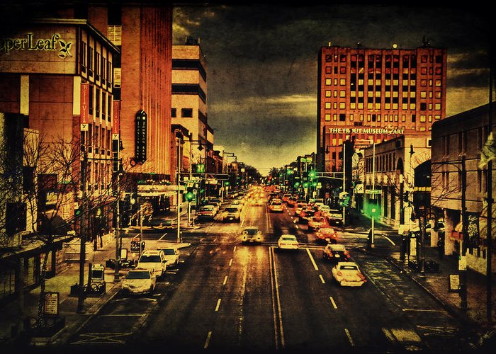College Avenue Greeting Card featuring the photograph Retro College Avenue by Joel Witmeyer