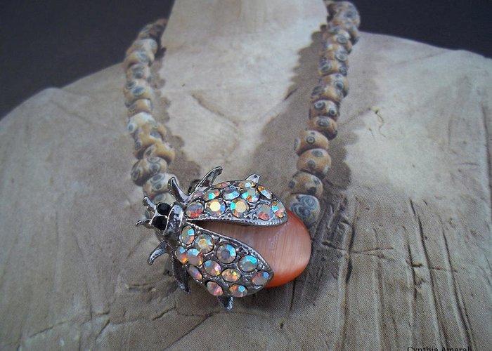 Rhinestone Greeting Card featuring the jewelry Rhinestone Lady Bug by Cynthia Amaral
