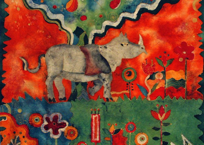 Cotton Greeting Card featuring the tapestry - textile Rhino by Sandra Kern