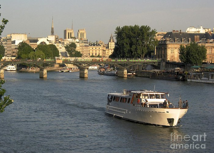 Aged Greeting Card featuring the photograph River Seine In Paris by Bernard Jaubert