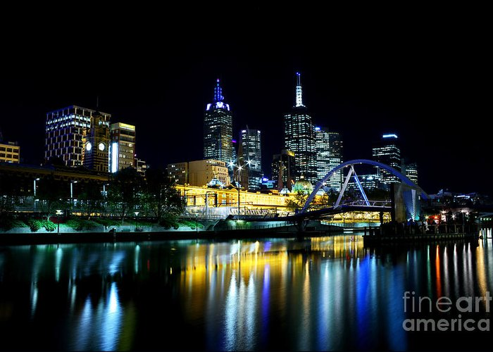 Melbourne Greeting Card featuring the photograph Riverside by Andrew Paranavitana