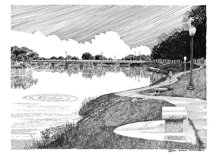 Framed Prints And Note Cards Of Ink Drawings Of Scenic Southern New Mexico. Framed Canvas Prints Of Pen And Ink Images Of Southern New Mexico. Black And White Art Of Southern New Mexico Greeting Card featuring the drawing Riverwalk On The Pecos by Jack Pumphrey