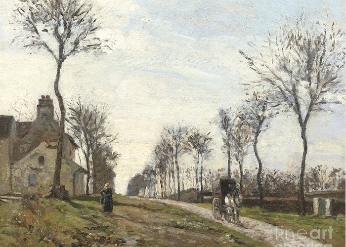 Camille Greeting Card featuring the painting Road In Louveciennes by Camille Pissarro