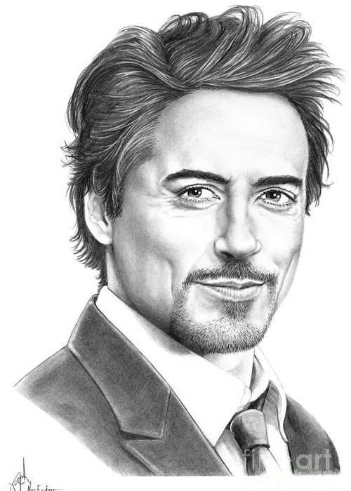 Pencil Greeting Card featuring the drawing Robert Downey Jr. by Murphy Elliott