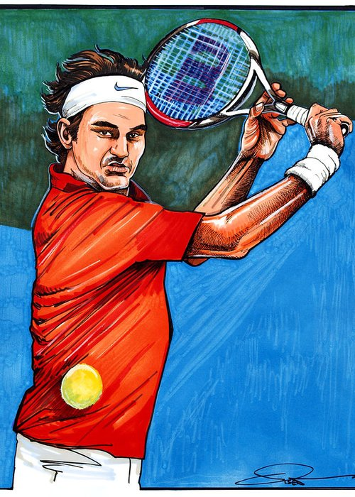 Roger Federer Greeting Card featuring the drawing Roger Federer by Dave Olsen