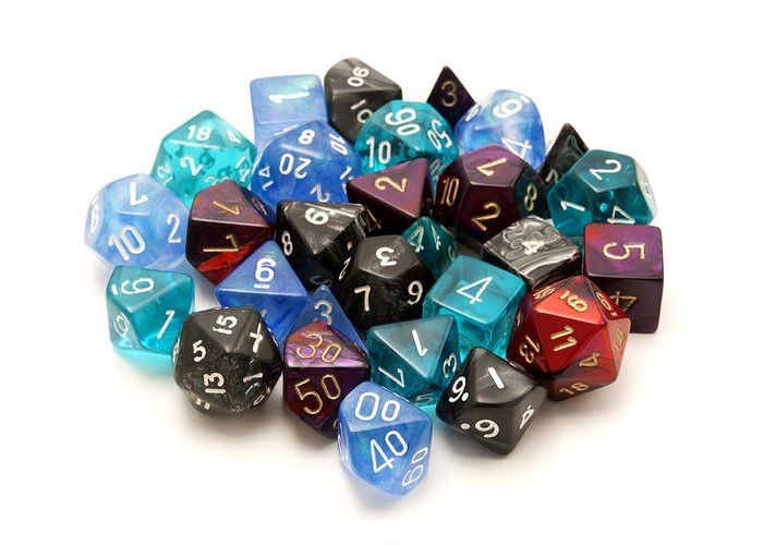 White Background Greeting Card featuring the photograph Role-playing Dices by Fabrizio Troiani