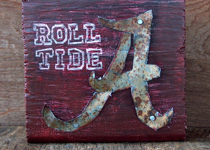 Roll Tide Greeting Card featuring the mixed media Roll Tide - Small by Racquel Morgan