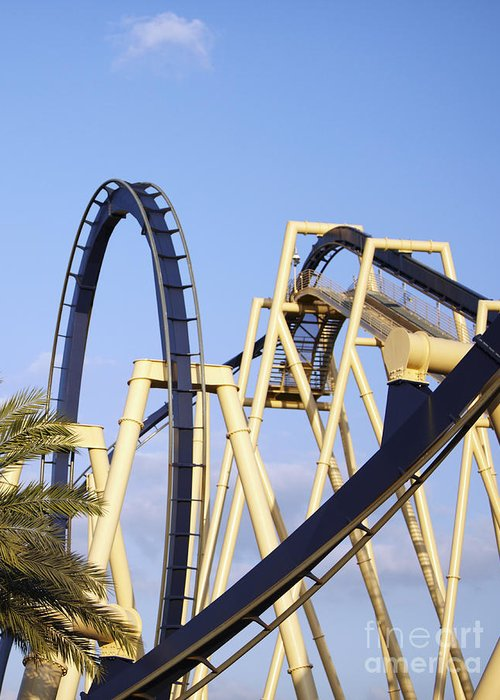 Amusement Park Greeting Card featuring the photograph Roller Coaster Track by Skip Nall