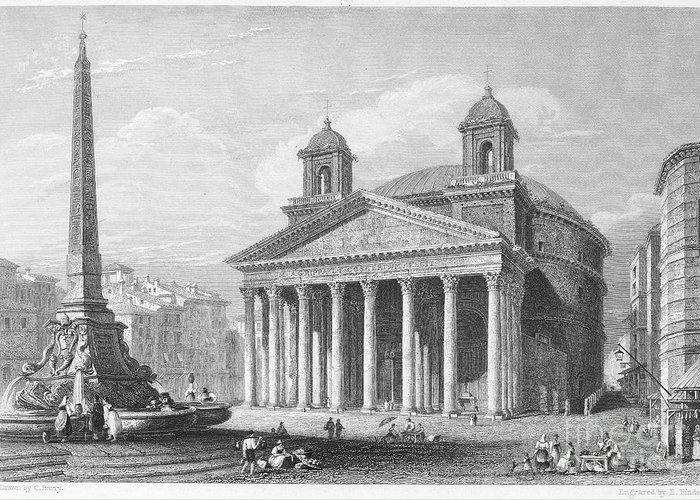 1833 Greeting Card featuring the photograph Roman Pantheon, 1833 by Granger