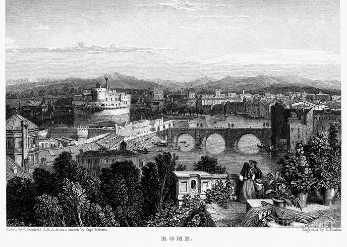 1833 Greeting Card featuring the photograph Rome: Scenic View, 1833 by Granger