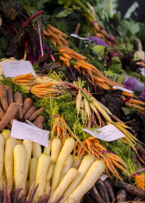 Carrot Greeting Card featuring the photograph Root Vegetables At The Market by Heather Applegate