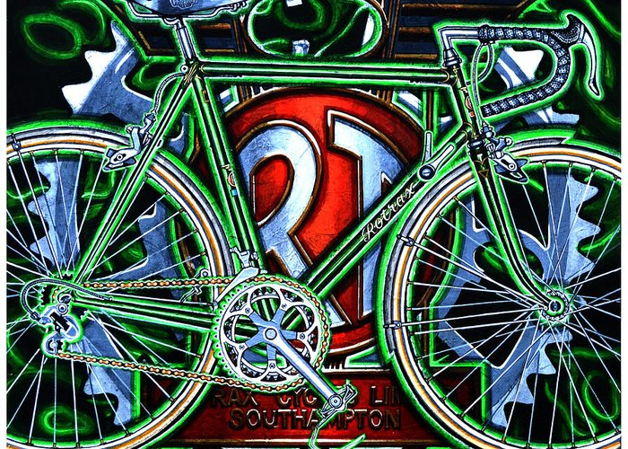 Bicycle Greeting Card featuring the painting Rotrax by Mark Howard Jones