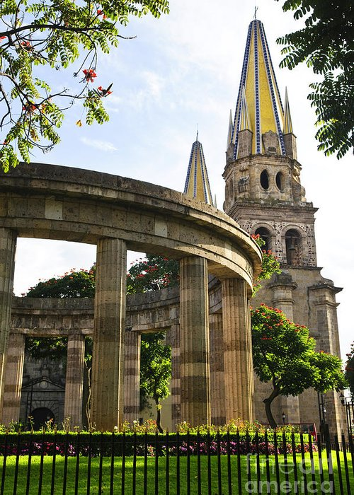 Rotunda Greeting Card featuring the photograph Rotunda Of Illustrious Jalisciences And Guadalajara Cathedral by Elena Elisseeva