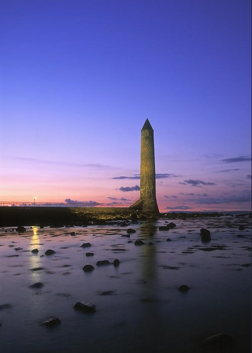 Ancient Greeting Card featuring the photograph Round Tower, Larne, Co Antrim, Ireland by The Irish Image Collection