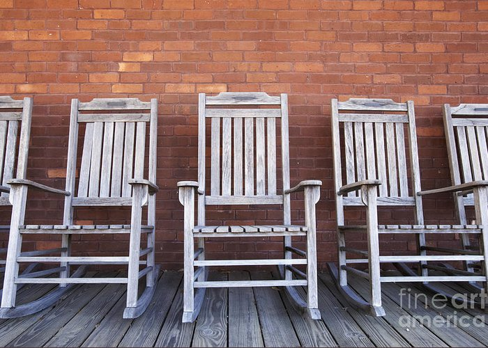 Brick Greeting Card featuring the photograph Row Of Rocking Chairs by Skip Nall