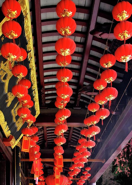 Lampions Greeting Card featuring the photograph Rows Of Red Chinese Paper Lanterns - Shanghai China by Christine Till