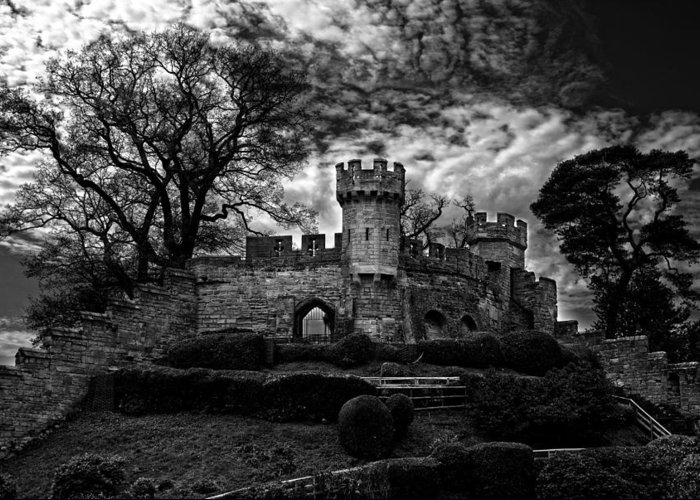 Lkg Photography Greeting Card featuring the photograph Ruins Of Warwick In Black And White by Laura George