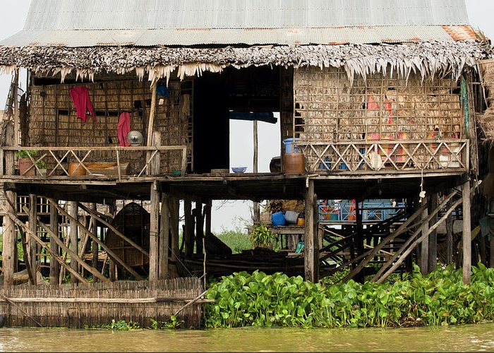Asia Greeting Card featuring the photograph Rural Fishermen Houses In Cambodia by Artur Bogacki