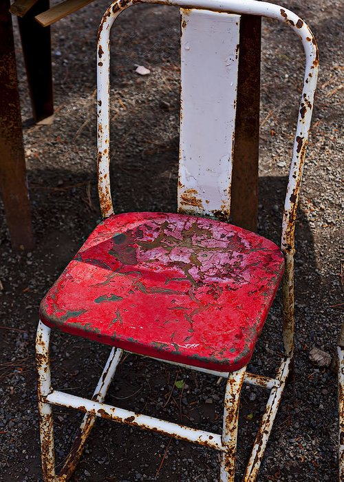 Chair Greeting Card featuring the photograph Rusty Metal Chair by Garry Gay