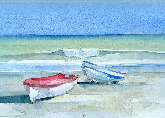 Sea Greeting Card featuring the painting Sabinillas Fishing Boats by Stephanie Aarons