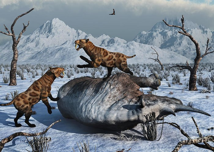 Digitally Generated Image Greeting Card featuring the digital art Sabre-toothed Tigers Battle by Mark Stevenson