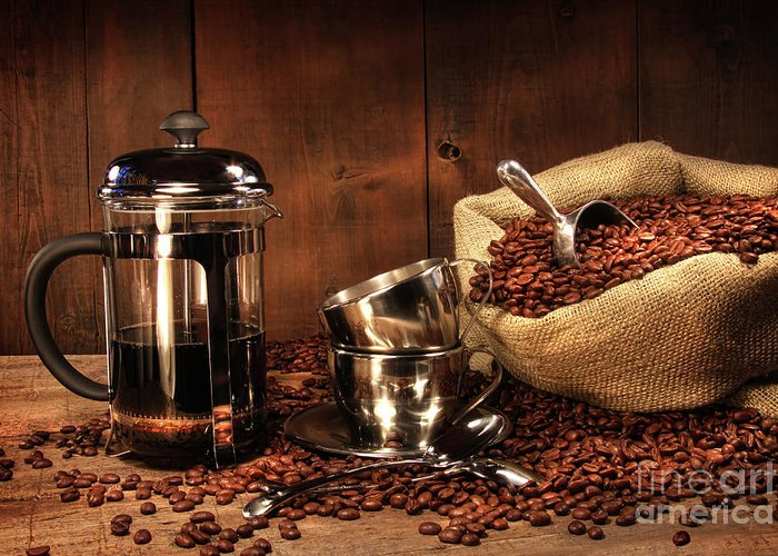 Aroma Greeting Card featuring the photograph Sack Of Coffee Beans With French Press by Sandra Cunningham