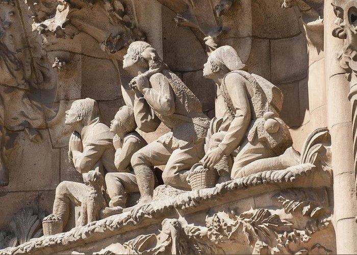 Sagrada Familia Greeting Card featuring the photograph Sagrada Familia Barcelona Nativity Facade Detail by Matthias Hauser