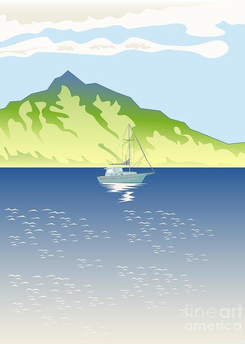 Illustration Greeting Card featuring the digital art Sailboat Mountains Retro by Aloysius Patrimonio