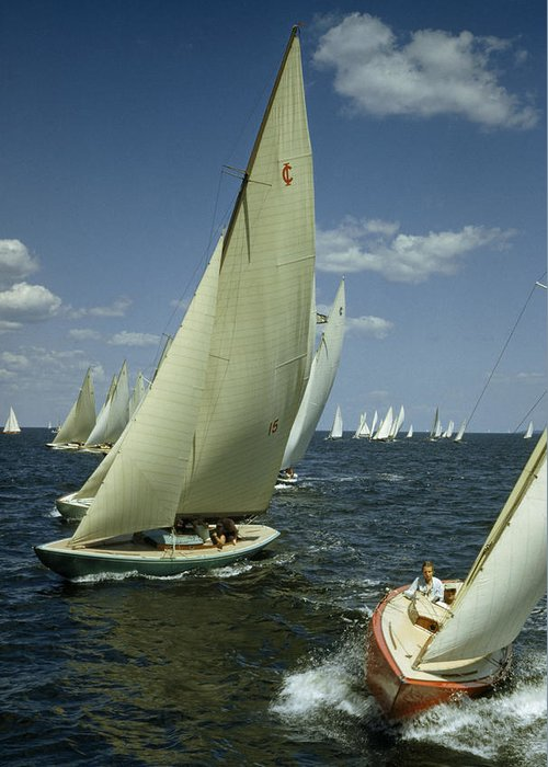 Outdoors Greeting Card featuring the photograph Sailboats Cross A Starting Line by B. Anthony Stewart