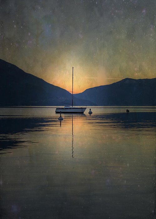 Boat Greeting Card featuring the photograph Sailing Boat At Night by Joana Kruse
