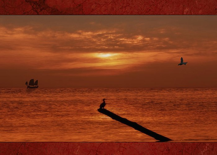 Sunset Greeting Card featuring the photograph Sailing Into The Sunset by Tom York Images