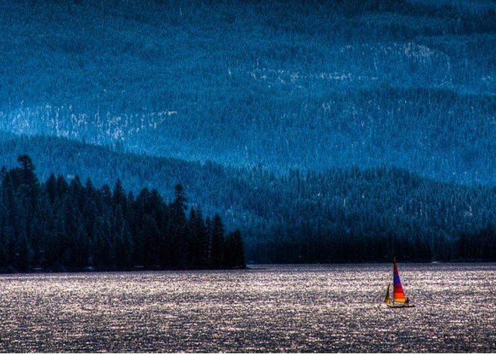 Elkins Resort Boathouse Greeting Card featuring the photograph Sailing Priest Lake by David Patterson