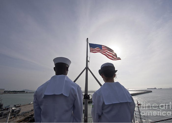 Operation Enduring Freedom Greeting Card featuring the photograph Sailors Stand By To Lower The Ensign by Stocktrek Images