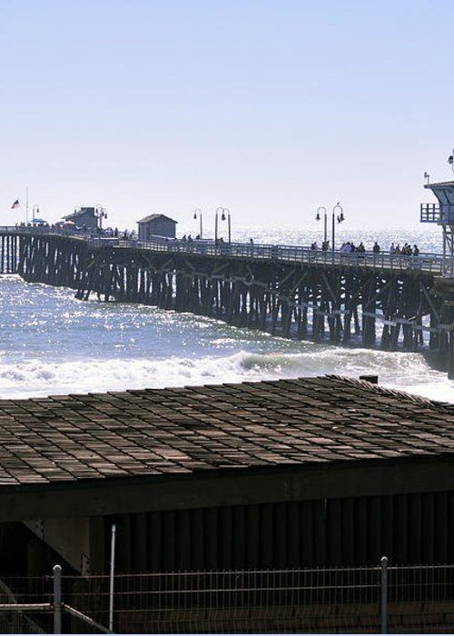 Clay Greeting Card featuring the photograph San Clemente Pier California by Clayton Bruster