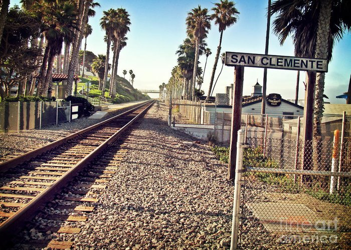 San Clemente Greeting Card featuring the photograph San Clemente Train Tracks by Traci Lehman