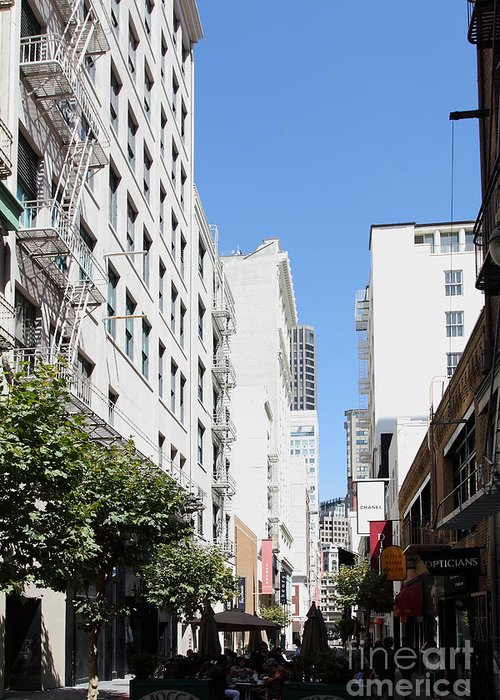 San Francisco Greeting Card featuring the photograph San Francisco - Maiden Lane - Outdoor Lunch At Mocca Cafe - 5d18011 by Wingsdomain Art and Photography