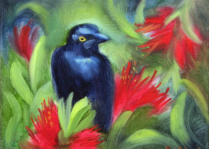 Black Bird Greeting Card featuring the painting San Francisco Black Bird by Karin Leonard