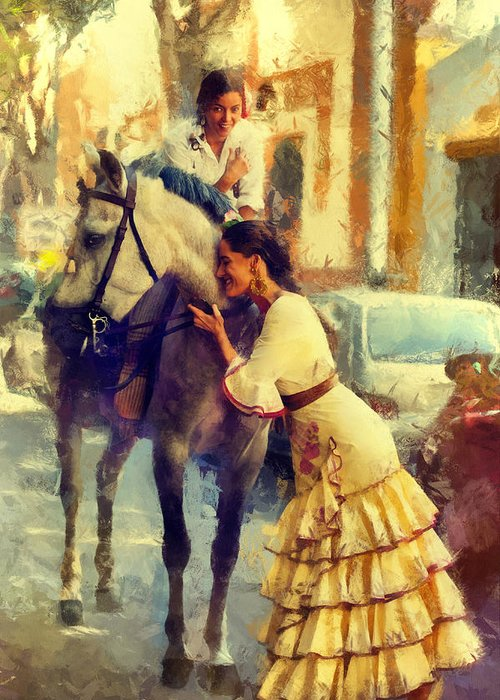 Andalusia Greeting Card featuring the photograph San Miguel Fair In Torremolinos by Jenny Rainbow