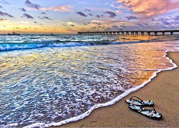 Clouds Greeting Card featuring the photograph Sandals by Debra and Dave Vanderlaan