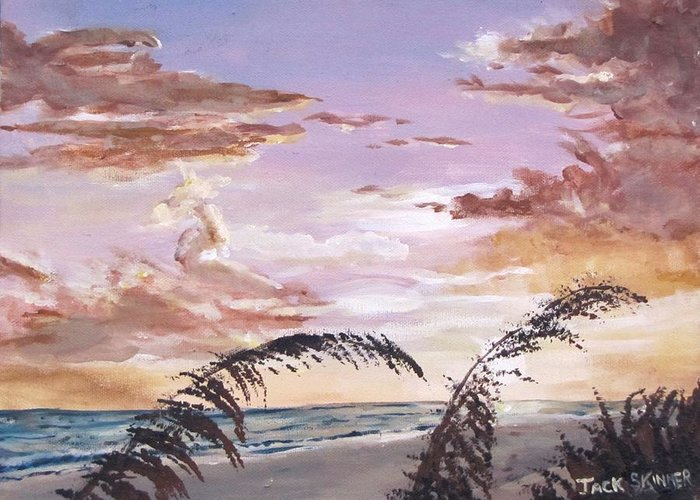 Sunset Greeting Card featuring the painting Sanibel Island Sunset by Jack Skinner