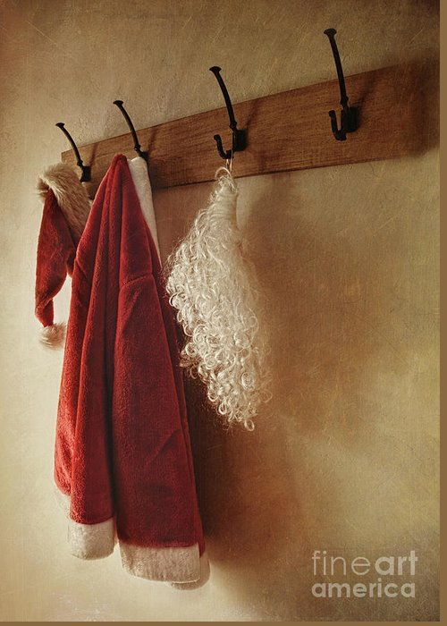 Background Greeting Card featuring the photograph Santa Costume Hanging On Coat Rack by Sandra Cunningham