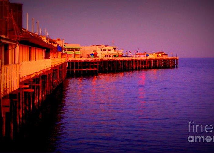 Blue Greeting Card featuring the photograph Santa Cruz Wharf by Garnett Jaeger