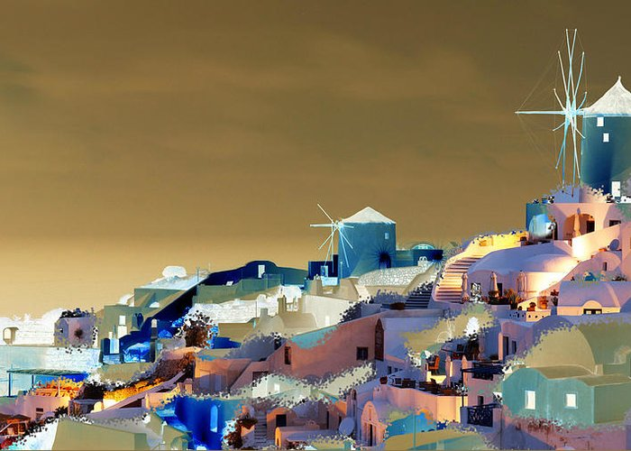 Nature Greeting Card featuring the digital art Santorini by Ilias Athanasopoulos