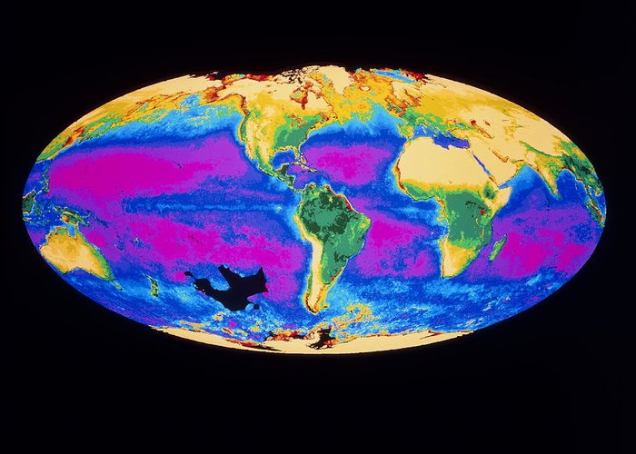 Phytoplankton Distribution Greeting Card featuring the photograph Satellite Image Of The Earth's Biosphere by Dr Gene Feldman, Nasa Gsfc